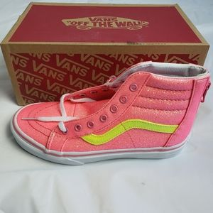 Vans Kids Sk8 Hi Zip Pink neon glitter shoes